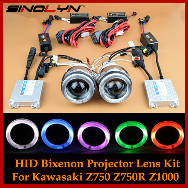 Motorcycle Headlight CCFL Angel Eye Devil Eyes Dual HID Bi xenon Projector Lens Kit For Z750 Z750R Z1000 Ninja 650 650R 250 250R