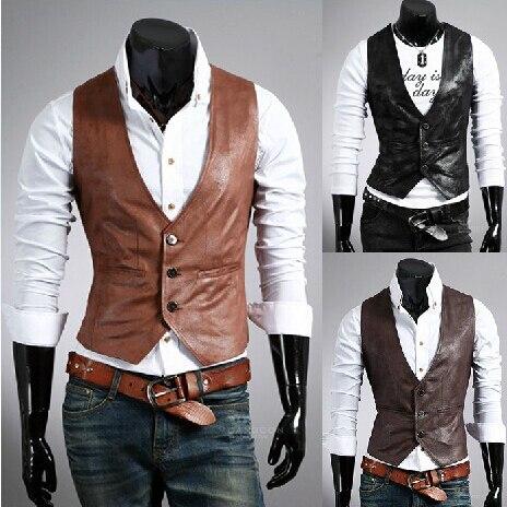 2017 Fashion Men Vest High quality Brand Mens Casual V-necked Slim Fit Vests leather business Vest man Spring / Autumn / Winter