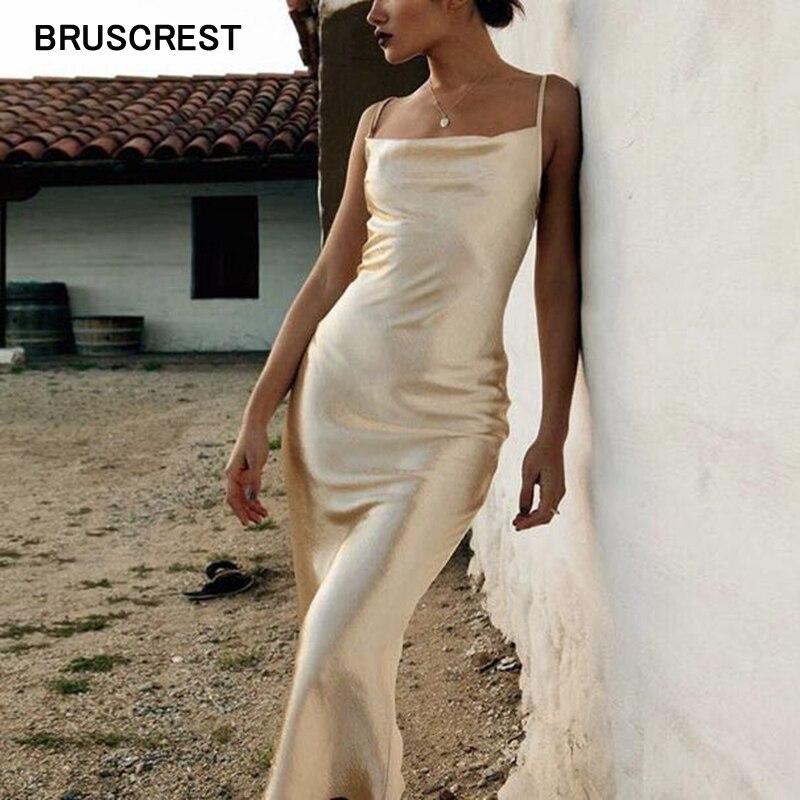 Boho gold satin midi dress blue white long party dress elegant summer dress 2021 spaghetti strap casual vintage vestidos