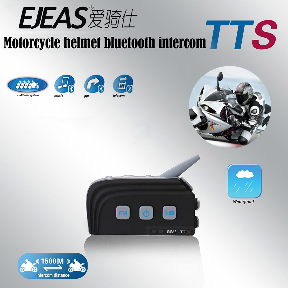 Dual Bluetooth 1500M Motorcycle Helmet Intercom Wireless Moto Interphone For 4 Riders With FM Stereo Headset