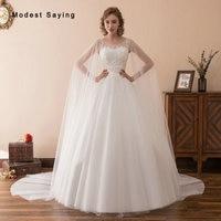 Elegant Ball Gown Beaded Lace Wedding Dresses 2018 with Long Shawl Formal Women Church Bridal Gowns vestido de noiva Custom Made