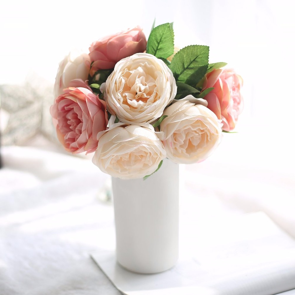 Aliexpress Buy 5 Heads Artificial Rose Flowers Wedding Bride