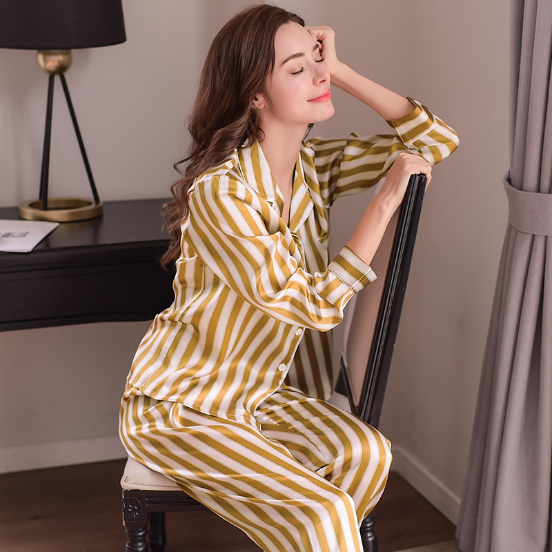 Detail Feedback Questions about Fashion Genuine Silk Women Pajamas Striped Printed  Long Sleeve Pyjama Long Pants Sets 100% Silkworm Silk Sleepwear Female ... cfbc8b335