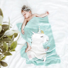 100% cotton children blanket for bed knitted baby blankets kids cartoon Unicorn Flamingo throw bedspread manta para sofa
