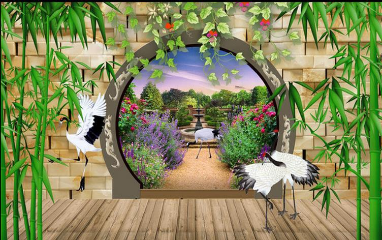 3d Wallpaper, 3D Mural Bamboo Garden Chinese Perspective For Tv Sofa  Background Wedding Decoration Wall,papel De Parede Floral In Wallpapers  From Home ...