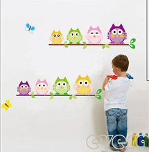 Colorful Naughty Owls Vinyl Removable Kids Bursery Wall Sticker Decals Decor(China)