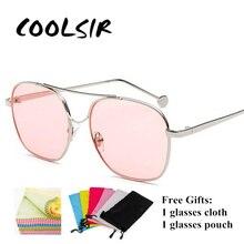 COOLSIR Retro Double Beam Metal Women Eyeglasses Frame Men Big Ocean Pink Lens Glasses Female