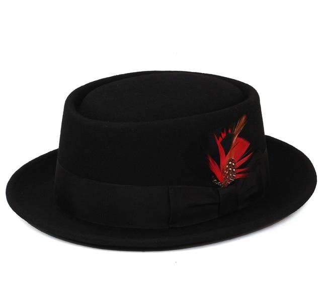 Pork Pie Hat 100% Australian Wool Felt fedora hats for women men flat top  vintage fashion ladies Cloche hats black wine red 61f73e74c59