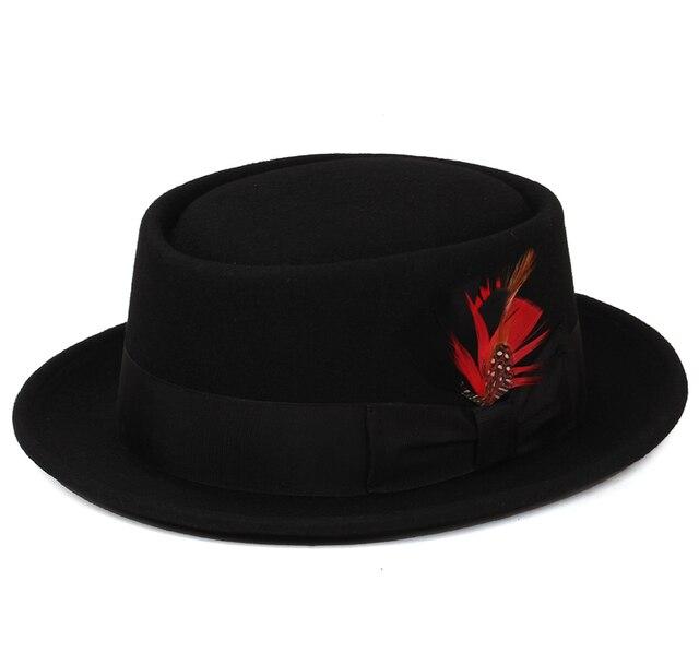Pork Pie Hat australiano 100% de fieltro de lana sombreros fedora para  mujeres hombres flat a694a813668