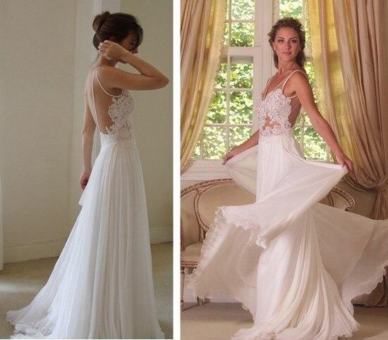 Us 145 0 Latest Designer Summer Wedding Dress See Through Bodice Boho Gown Sexy Bride Dress Beach Wedding Gown Vestido De Noiva Tt2406 In Wedding