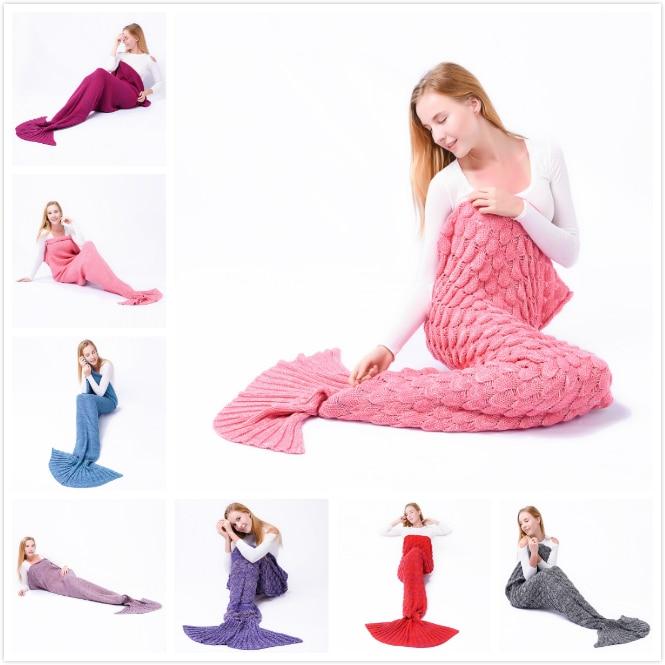 Niuniu Daddy Yarn Knitted Mermaid Tail Blanket Handmade Crochet Mermaid Blanket Kids Throw Bed