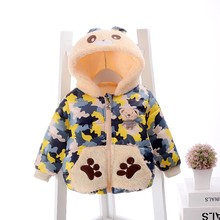 Kids coat winter girls boys cotton jacket zipper closure pure color hooded collar long personality camouflage cotton outerwear
