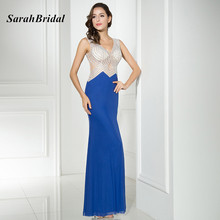 Hot Sexy Royal Blue Long Mermaid Prom Dresses 2017 With Beading Sleeveless Side Split Formal Evening Party Gowns Real Photos