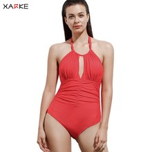 XARKE Women Swimsuit Deep V One Piece Swimwear Tummy Control Sexy Bikini Backless Halter Swimming suit Female Bathing Suits
