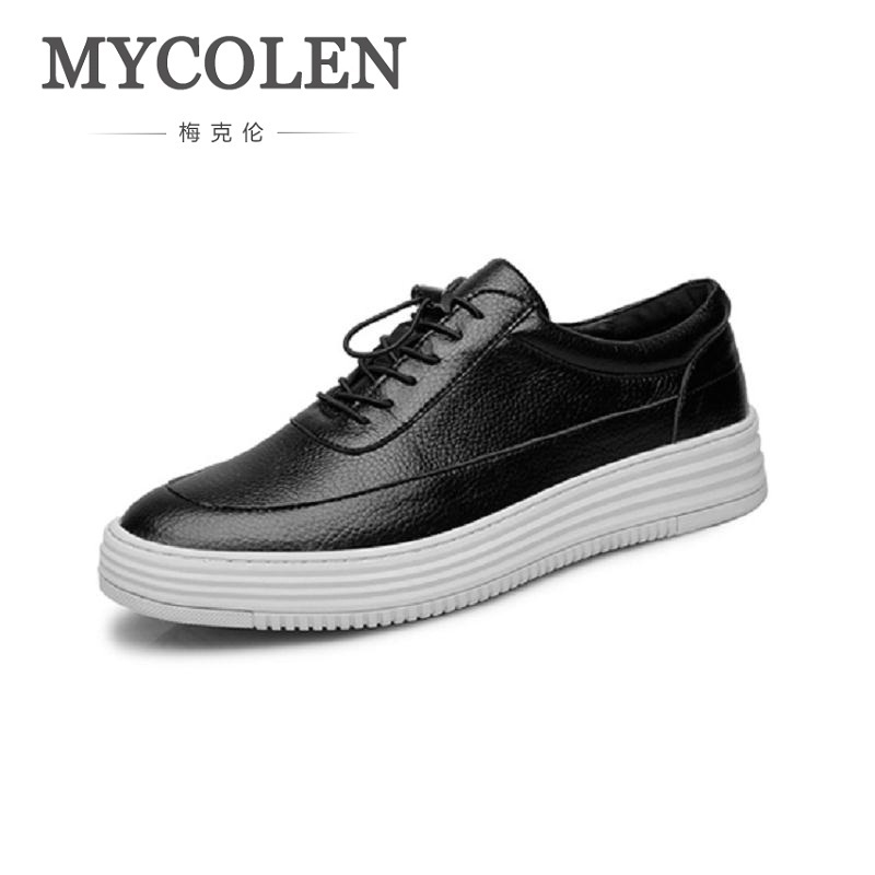 MYCOLEN Luxury Solid White Leather Sneakers Men Shoes Genuine Leather Retro Casual Shoes Man Breathable Adult Footwear Male vesonal 2017 brand casual male shoes adult men crocodile grain genuine leather spring autumn fashion luxury quality footwear man