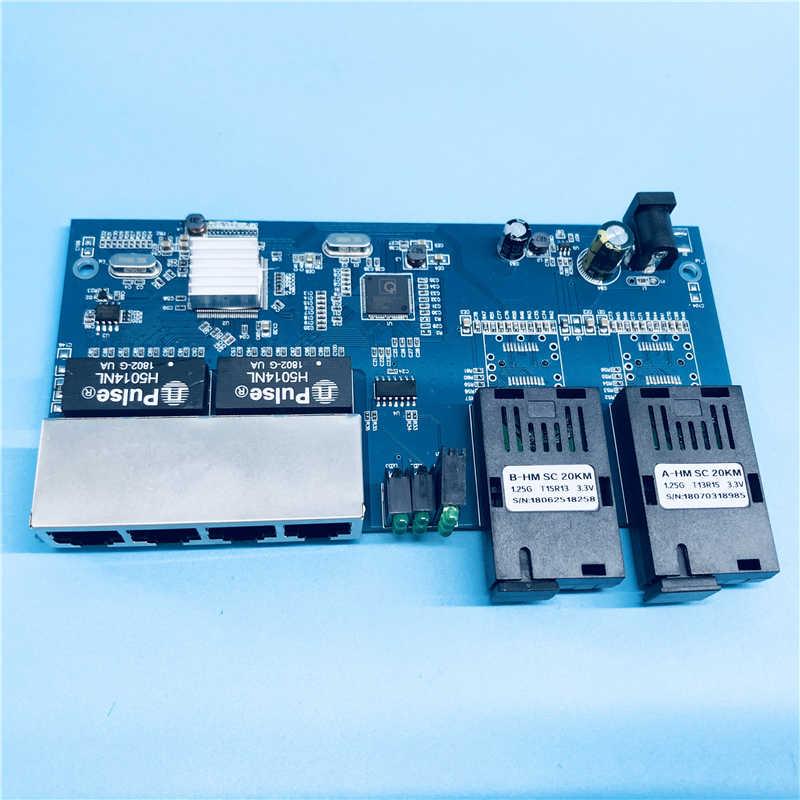 2G4E 10/100/1000 м Gigabit Ethernet коммутатор Ethernet волоконно-оптический преобразователь один режим 4-Порты и разъёмы RJ45 2 Порты и разъёмы оптического волокна печатной платы