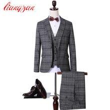 (Jackets+Pants+Vest) Men Casual Plaid Suit Sets Slim Fit Tuxedo Party Dress Suits Cotton Plus Size Wedding Business Suits F2109