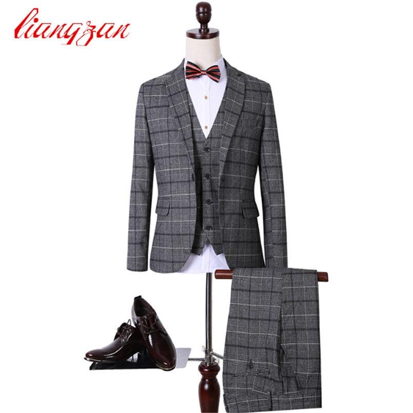 font b Jackets b font Pants Vest font b Men b font Casual Plaid Suit