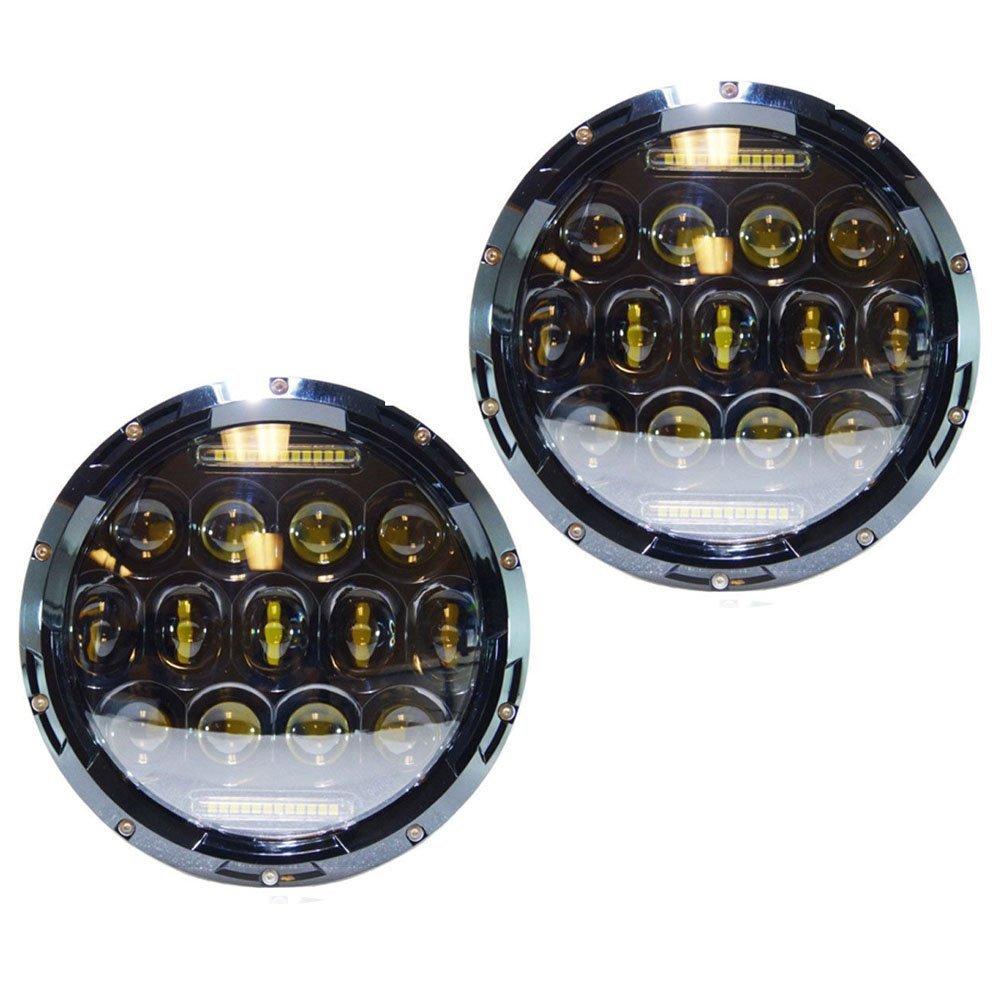 7 Round LED Headlight 7 Inch 75W Headlamp Daymaker Projector Hi/Lo Beam DRL for Jeep Wrangler JK LJ CJ Hummer Harley 1pcs 5 75 inch led motorcycle projector daymakers 5 75 inch headlight for harleys dyan h4 hi lo beam lights lamp bulb angle eye