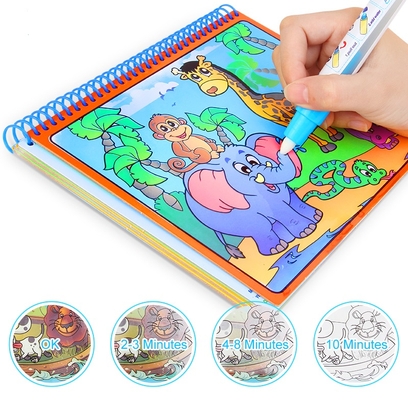 Magic Water Drawing Book With Magic Pen Painting Drawing Board Coloring Book For Kids Children Education Drawing Toy 5 themed boards reusable magic water drawing coloring book doodle with pen painting drawing board kids children education toy