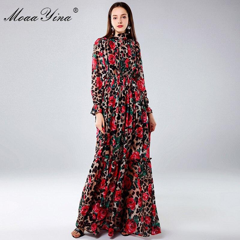 PUL New Womens Fashion Long Sleeve Elegant Leopard Rose Printed Party Maxi Dress