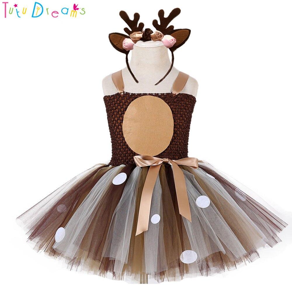 Cervos do natal Vestido Tutu Meninas Do Bebê 1st Birthday Party Vestidos  Purim Feliz Dia Das 4f92a54f0e0