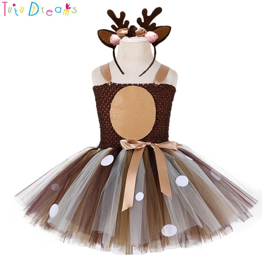 Weihnachten Deer Tutu Kleid Baby Mädchen 1st Geburtstag Party Kleider Glücklich Purim Halloween Winter Cosplay Kostüm Kleidung Für Kinder