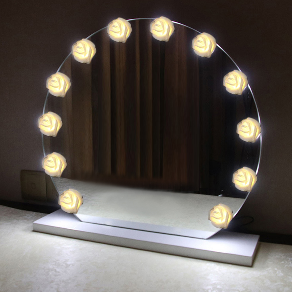 Rose Fairy Led String Lights Battery Makeup Mirror Vanity Light