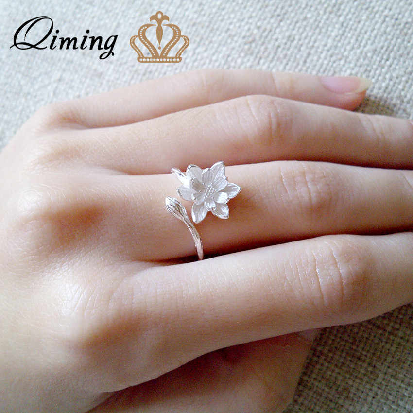 QIMING Water Lily Lotus Ring Women's Pure Silver Jewelry Adjustable Open Charm Big Flower Floral Fashion Wedding Rings Female