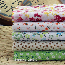 New! 5Pcs Plain Floral 100% Cotton Print Quilted Fabric Sets,Textile Patchwork, Fabric for Sewing,Tissue,Doll Cloth- 50x50cm