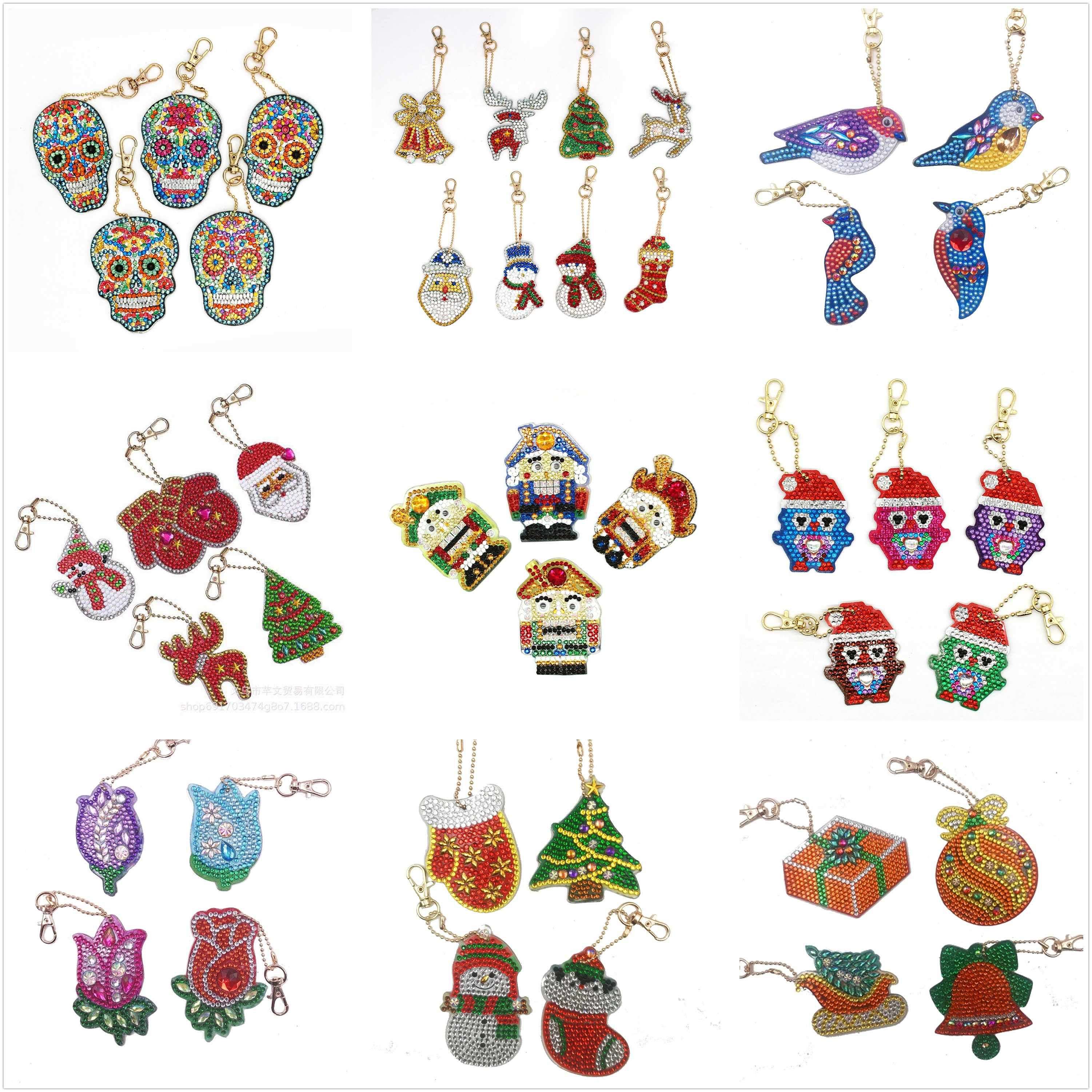 Different Design Diy Diamond Keychain Best Nutcracker Christmas Gift Diy Special Shape Full Drill Woman Girl Jewelry Keyring