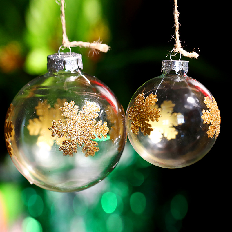 Gold glitter snowfall glass ball merry christmas tree for Outdoor hanging ornaments