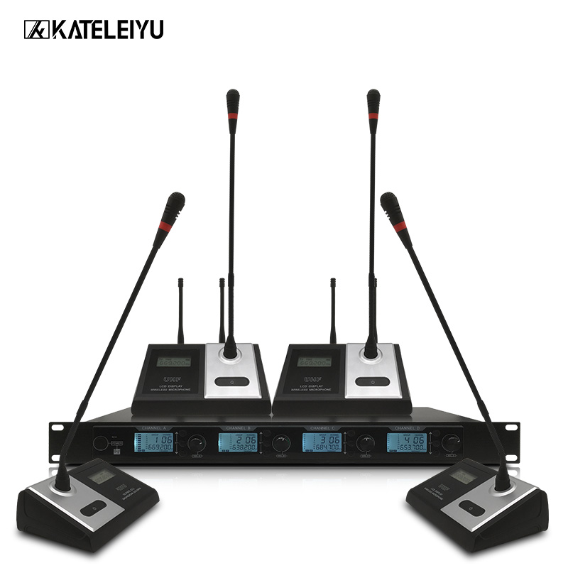 цена на ERZHEN 4400GT UHF 4 Handheld Wireless Microphone Dynamic Capsule Family Party Balanced+Unbalanced Output Wireless Microphone+KTV