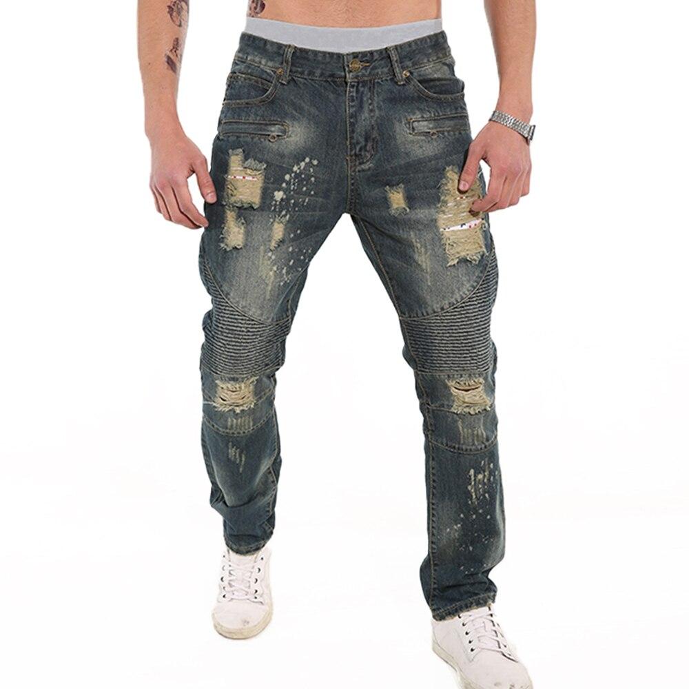 European American Style fashion brand cotton men jeans luxury Men's casual denim trousers hole zipper Slim blue jeans for men цены онлайн
