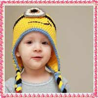 Śliczne moda długie włosy mały żółty kapturek dzieci Handmade czapki dla dzieci czapki 0-3month 100% Handmade Bonnet fotografia Prop