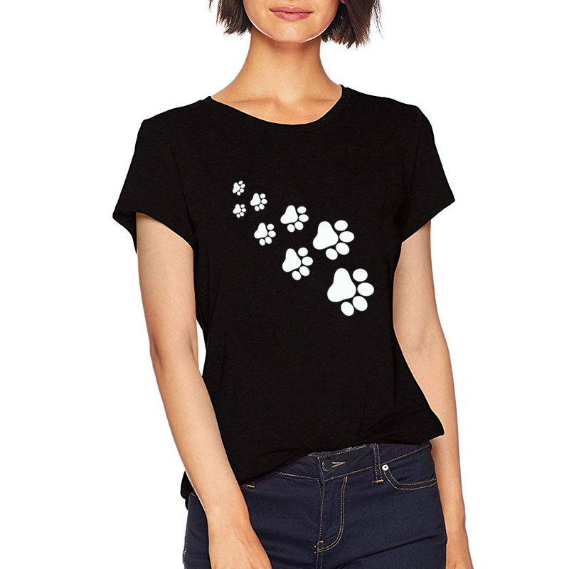 Begeistert Frauen Mode Graphic Tees Frauen Polyester Casual Sommer Tees & Tops Schwarz Harajuku Tier Bär Fußabdrücke Kawaii T Shirts