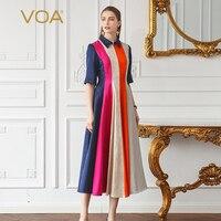 VOA тяжелый шелк плюс размеры 5XL платье для женщин Половина рукава хит цвет Вертикальный в полоску с завышенной талией туника тонкий жаккардо