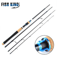 FISH KING 4 Section Carbon Ultralight Fishing Spinning Rod Line 10 20LB H power 15 40G Casting Lure Fishing Travel Rods