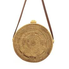 Retro Rattan Woven Bowknot Circular Bag Star Sunflower Pattern Beach Dual-Purpose Travel Sling Crossbody Bags