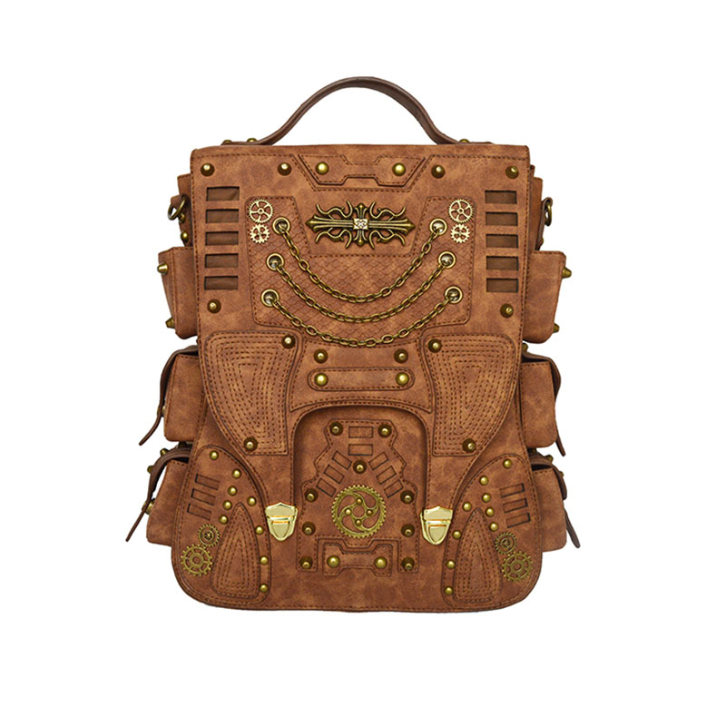 Men Women Brown PU Leather Fashion Punk Rivet Backpack Design Casual Book Bag Rucksack Computer Bag Daypack Rock Knapsack New paste rock style genuine leather women backpack fashion rivet decoration women s travel bags soft cowskin women punk bag