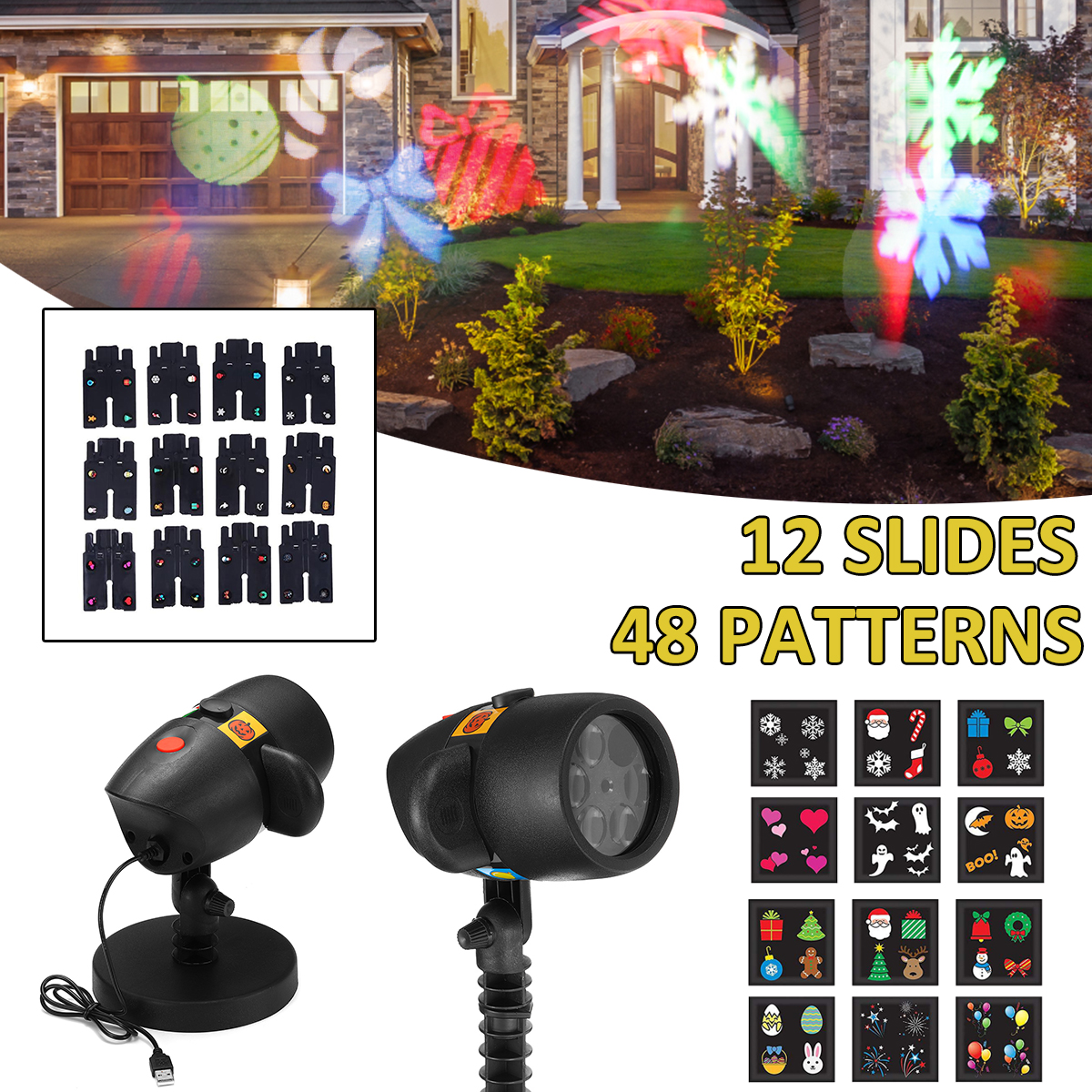 Christmas Laser Projector Lamp LED Stage Light with 12 Slides Waterproof IP42 Home Garden Lighting Indoor Party Decoration