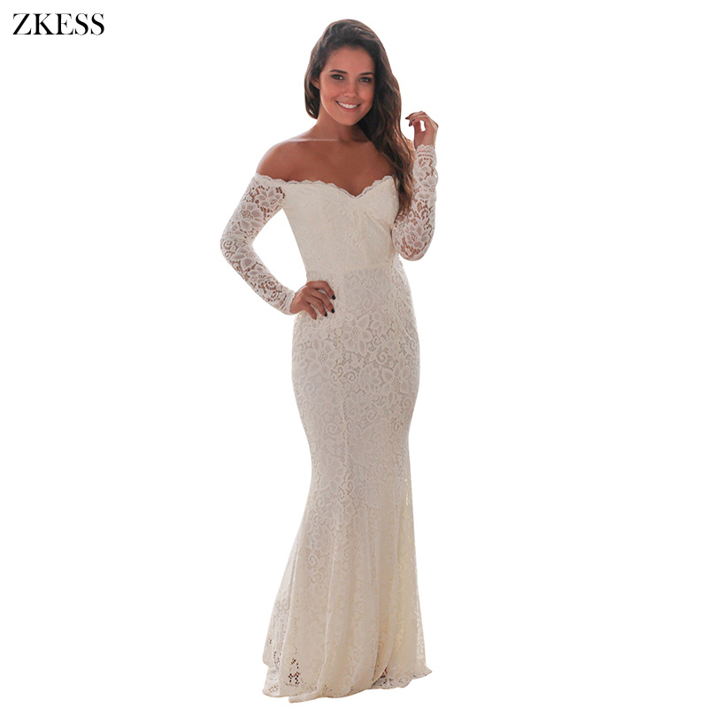 Women's Clothing Enthusiastic Zkess Women Robe Dentelle White Crochet Lace Off Shoulder Maxi Evening Long Sleeve Party Dress Winter 61847 Vestido De Invierno Relieving Heat And Thirst.