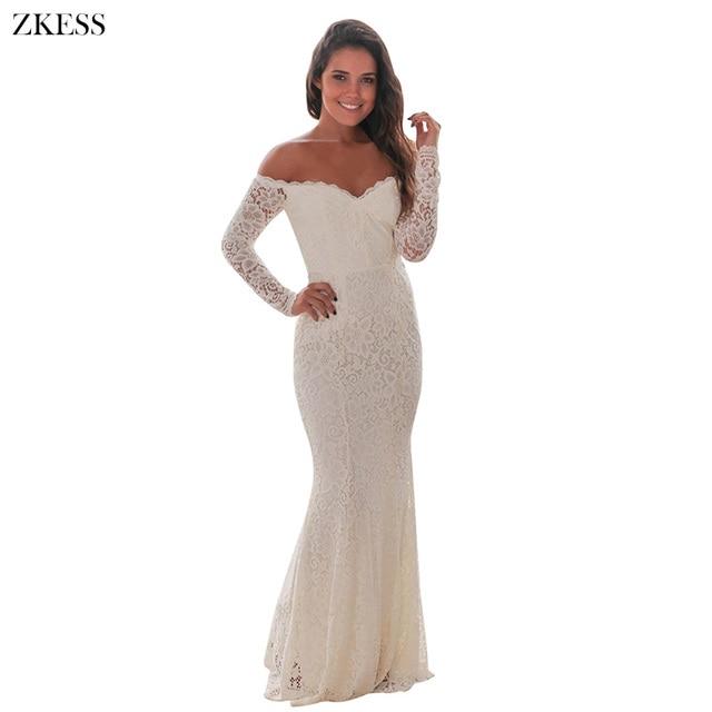 a4f6707677 Zkess Women Robe Dentelle White Crochet Lace Off Shoulder Maxi Evening Long  Sleeve Party Dress Winter
