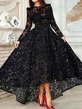 Prom font b Dresses b font New Elegant Cheap Hi Lo Black Sheer Long Sleeves Lace