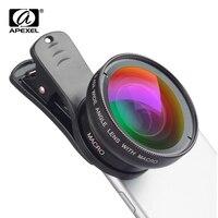 Объектив для телефона APEXEL  супер широкоугольный объектив 0 45x и макрообъектив 12 5x 2 в 1  цифровой HD объектив для iPhone x 7 8 Samsung s9 s8 xiaomi