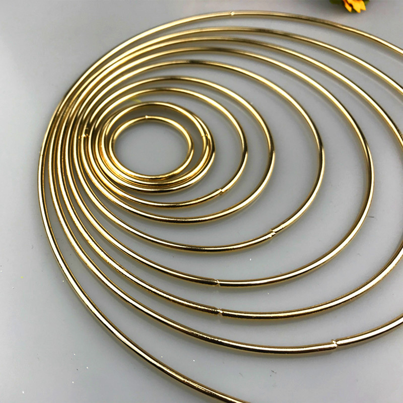 10pcs 35-190mm Gold Color Dream Catcher Reve Circle Rings Findings Hanging Round Circle Metal Pour Attrape Reve Net Jewelry DIY