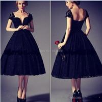 Новое модное выпускное платье 2019 винтажные чёрные кружевные аппликации Vestidos De Renda милый короткий рукав платье миди для выпускного платья