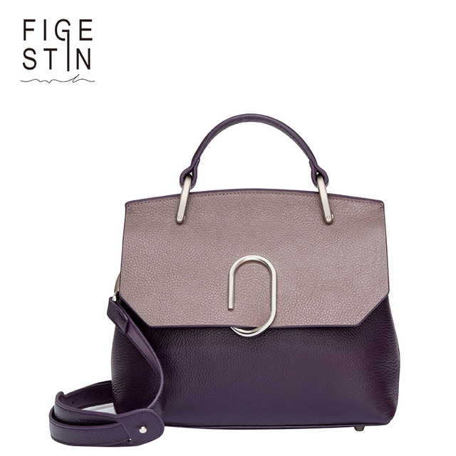 FIGESTIN Women Bags Designer Real Cow Leather Purple/Green/Khaki Panelled Cover Soft Luxury Shoulder Bags Handbag Evening Gift
