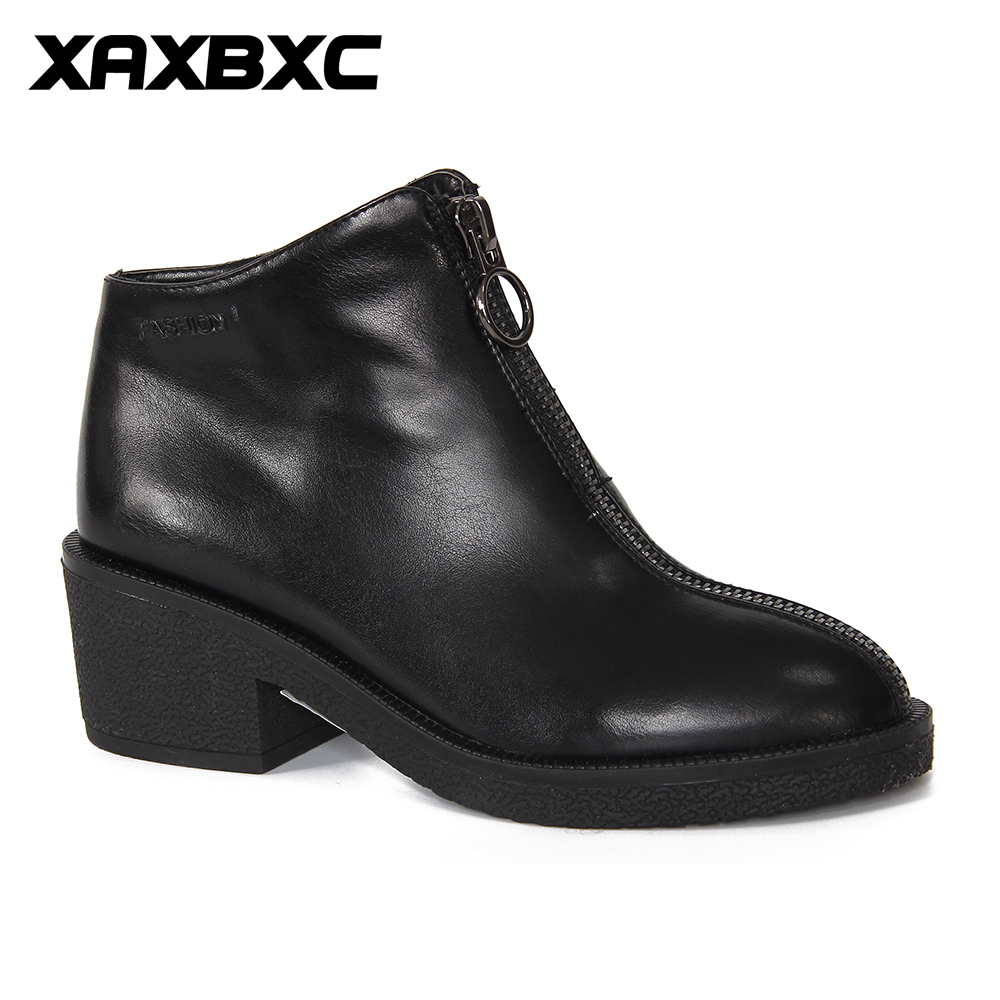 XAXBXC 2018 Retro British Winter Short Plush PU Leather Thick Heel Short Ankle Boots Warm Women Boots Handmade Casual Lady Shoes 15kg 1g c1 kitchen scales lcd display accurate digital toughened glass electronic cooking food weighing precision ht917