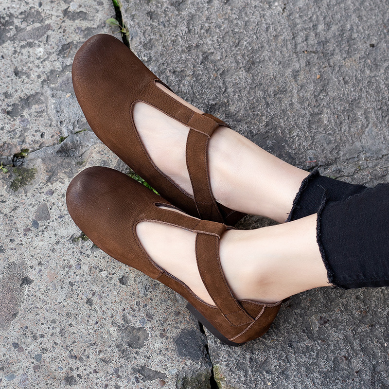 Women Leather Flats T Strap Spring Shoes Low Heels Mary Jane Flats Women 2019 Retro Style Handmade Genuine Leather Women FlatsWomen Leather Flats T Strap Spring Shoes Low Heels Mary Jane Flats Women 2019 Retro Style Handmade Genuine Leather Women Flats